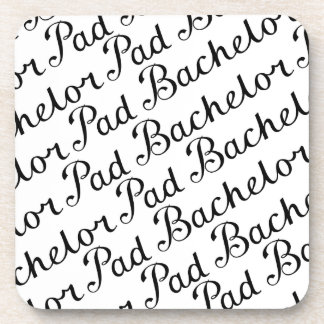 Bachelor Pad Diagonal Script Pattern B&WII Drink Coaster