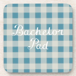 Bachelor Pad Handwritten Script on Check Beverage Coaster