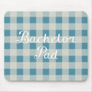 Bachelor Pad Handwritten Script on Check Mouse Pad