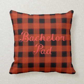 Bachelor Pad Red Script on Black & Red Check Throw Pillow