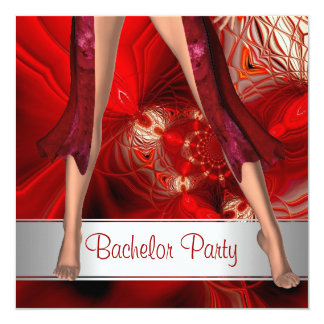 Bachelor Party  Abstract Red Girl Legs 5.25x5.25 Square Paper Invitation Card