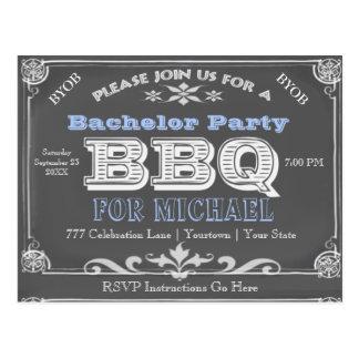 Bachelor Party   BBQ   Vintage Chalkboard Postcard