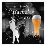 Bachelor Party Black Gold White Beer Glass Girls Announcements