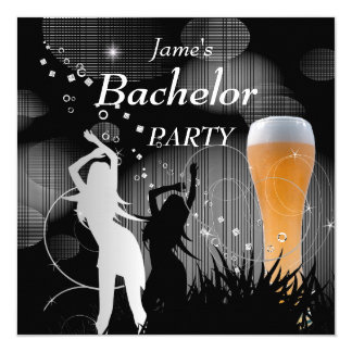 Bachelor Party Black Gold White Beer Glass Girls 5.25x5.25 Square Paper Invitation Card