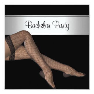 Bachelor Party Black Silver Girl Fishnet Stockings Card
