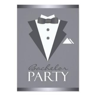 Bachelor Party Black Suit Flat Invitation