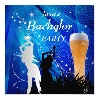 Bachelor Party Blue Gold White Beer Glass Girls Personalized Invites