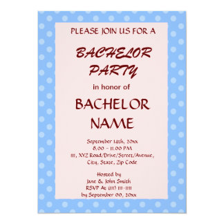 Bachelor Party - Blue Polka Dots, Pink Background Card
