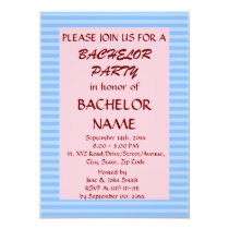 Bachelor Party - Blue Stripes, Pink Background Card