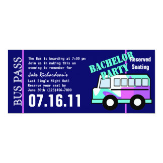 Bachelor Party Bus Pass 4x9.25 Paper Invitation Card