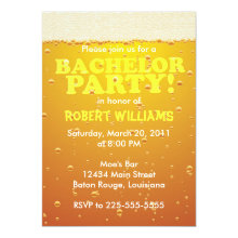 Beer Bachelor Party Wedding Invitations