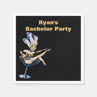 Bachelor Party Casino Showgirl Paper Napkin
