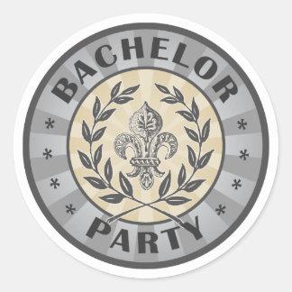Bachelor Party Crest Design Classic Round Sticker