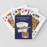 "Bachelor Party Custom Playing Card Deck<br><div class=""desc"">Great masculine deck of standard playing cards,  done in navy blue,  with graphics of  a hand of cards,  cigar,  and a cocktail.  White text,  at the top,  is ready to personalize for your special guy&#39;s event.  Great for bachelor parties.</div>"