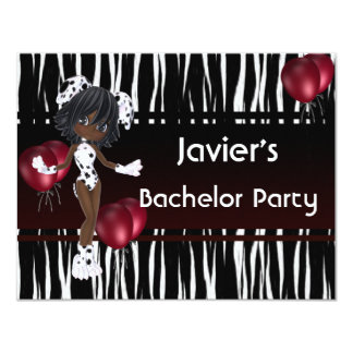 Bachelor Party Cute Girl Red Balloons Card