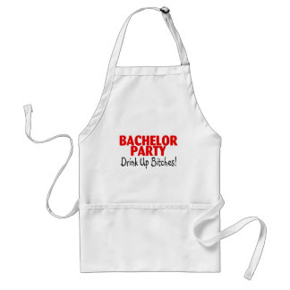 Bachelor Party Drink Up Red Black Adult Apron
