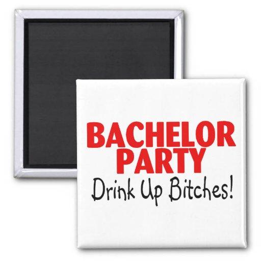 Bachelor Party Drink Up Red Black Refrigerator Magnet