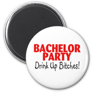 Bachelor Party Drink Up Red Black Magnet