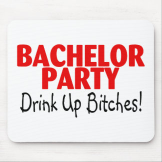 Bachelor Party Drink Up Red Black Mousepads