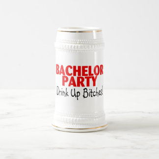 Bachelor Party Drink Up Red Black 18 Oz Beer Stein