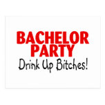 Bachelor Party Drink Up Red Black Post Card