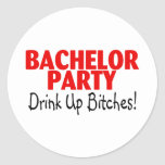 Bachelor Party Drink Up Red Black Stickers