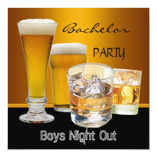 Bachelor Party Drinks Beer Boys Night Out, Invitation   Zazzle