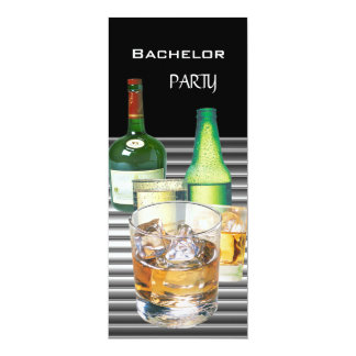 Bachelor Party Drinks Bottles 2 4x9.25 Paper Invitation Card