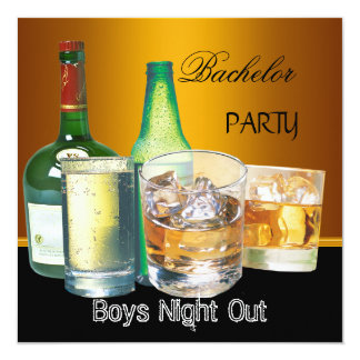 Bachelor Party Drinks Bottles Boys Night Out, Card
