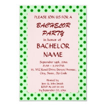 Bachelor Party - Green Polka Dots, Pink Background Card
