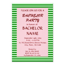 Bachelor Party - Green Stripes, Pink Background Card