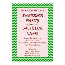 Bachelor Party - Green Zigzag, Pink Background Card