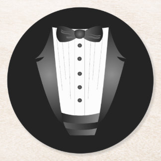 Bachelor Party Groomsman Team Groom black tuxedo Round Paper Coaster