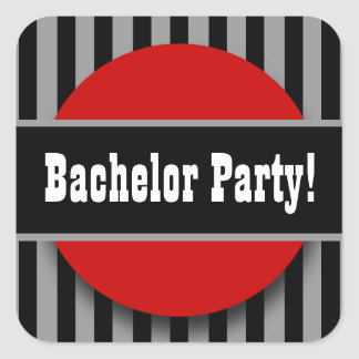 BACHELOR PARTY in BLACK SILVER RED B02 Square Sticker