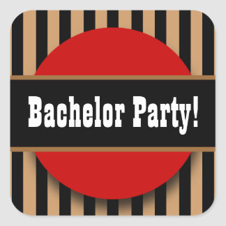 BACHELOR PARTY in BLACK TAN RED B04 Square Sticker