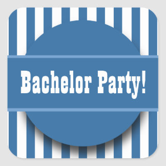 BACHELOR PARTY in BLUE and White STRIPES B06 Square Sticker