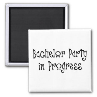 Bachelor Party In Progress 2 Inch Square Magnet