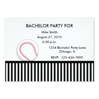 Bachelor Party Invitation Black White Baseball