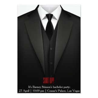 Bachelor party invitation card suit up vegas