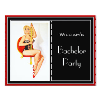 Bachelor Party Invitation Red Black White