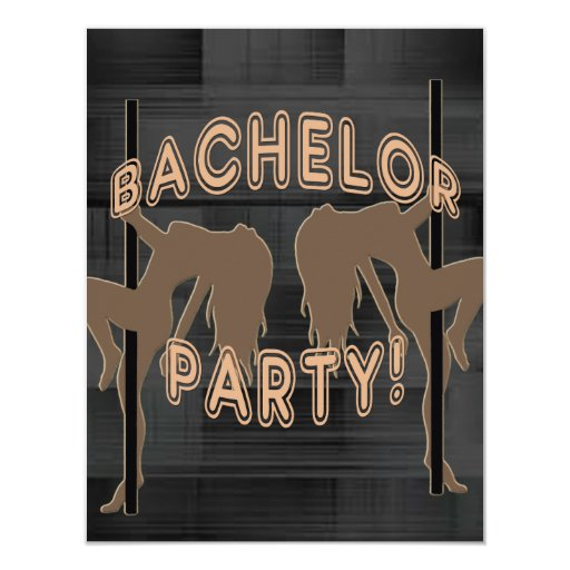 "Bachelor Party Invitation - Strippers Girl Brown 4.25"" X 5.5"" Invitation Card"