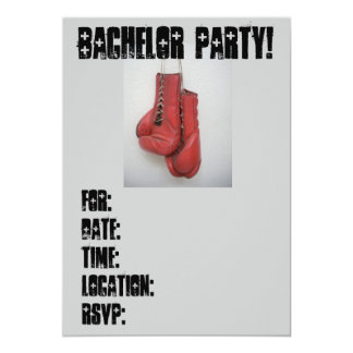 Bachelor Party Invitations Boxing Gloves!