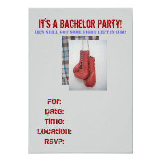 Bachelor Party Invitations Fight left , Boxing Glo