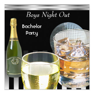 Bachelor Party Mens Boys Night Out Drinks 2 5.25x5.25 Square Paper Invitation Card