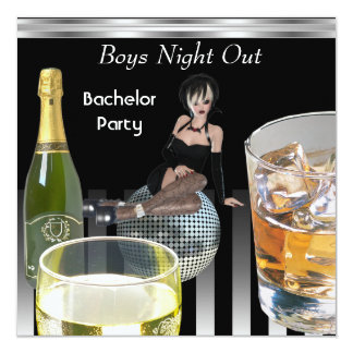 Bachelor Party Mens Boys Night Out Drinks 5.25x5.25 Square Paper Invitation Card