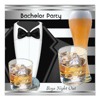 Bachelor Party Mens Boys Night Out Drinks Tux Card