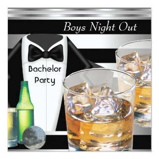 Bachelor Party Mens Boys Night Out Drinks Tux 5.25x5.25 Square Paper Invitation Card