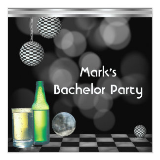 Bachelor Party Mens Drinks Black And White Silver 5.25x5.25 Square Paper Invitation Card