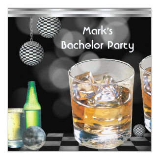 Bachelor Party Mens Drinks Black Silver 2 5.25x5.25 Square Paper Invitation Card