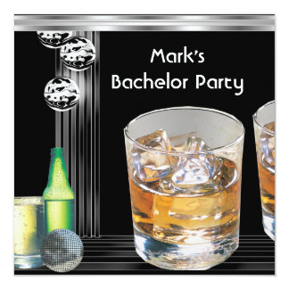 Bachelor Party Mens Drinks Black Silver 5.25x5.25 Square Paper Invitation Card